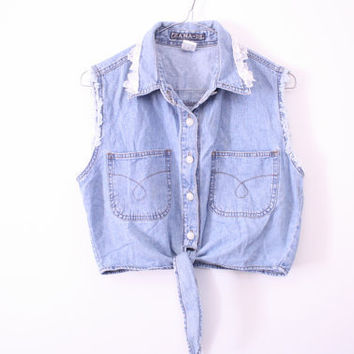SALE Amazing 90 Denim Chambray Tie Up Crop Top