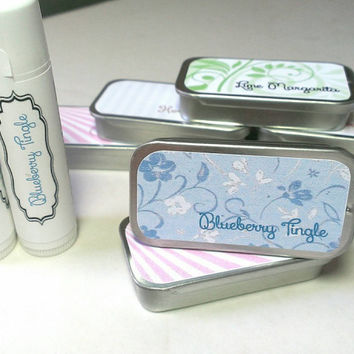 Blueberry Flavored Natural Lip Balm With Coconut Oil and Beeswax tin