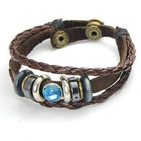 Lovers Knit Korean Style Fashion Bracelet Blue(Male)