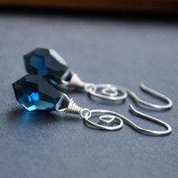 CIJ Navy Blue Crystal Earrings, Silver Wire Wrapped Earring, Celtic Jewelry, Handcrafted Whimsical Spirals, Christmas in July
