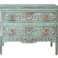 Louis XVl Style Two Drawer Carved Chest in Pale Turquoise