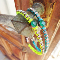 Thin neon blue and yellow friendship bracelets, best friend, green, yellow, blue, birthday, jewelry, girl, christmas