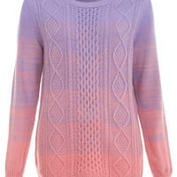 Ombre Cable Jumper - Sweaters & Cardigans  - Apparel