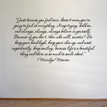 Marilyn Monroe quote removable wall vinyl -Just because you fail once