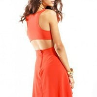 Open Back Racerback Knee Length Dress in Orange