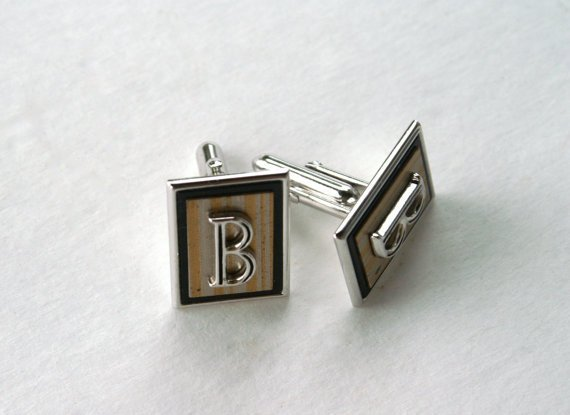 Vintage Men's Cufflinks Initial B by Swank