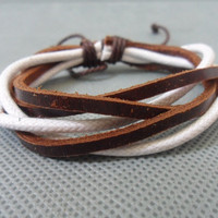 Brown Leather multicolour Cotton Paraffined Ropes Woven Bracelet Cuff 156S