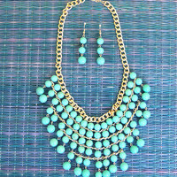 Galapagos Tiered Beaded Necklace in Turquoise -  $24.00 | Daily Chic Accessories | International Shipping