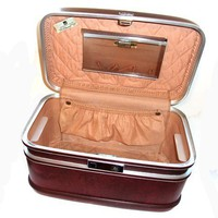 Vintage Train Case Maroon Luggage 1960s Suitcase American Eagle