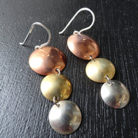 Domed Metal Disk Earrings - Copper, Brass and Silver