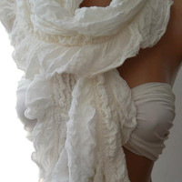 ON SALE / Creamy  White - Elegance Shawl / Scarf  - Traditional  fabric-