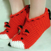 Unisex Funny Chunky Crocheted Fox slippers women men children teens Winter Warm Lana Merino Wool Woodland red ginger animals