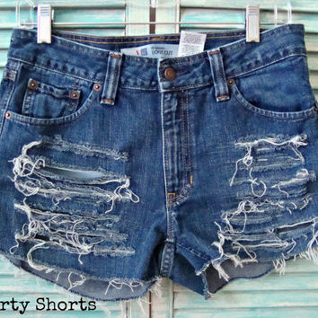 Denim Jean Shorts Mid Waisted Super Distressed Shorts Size 6