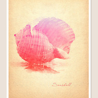 Seashell Digital Watercolor Print Pink Red Purple by PigmentPunch
