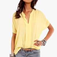 V- Neck Short Sleeve Blouse