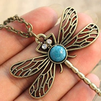 ancient dragonfly necklace alloy metal pandent women chain necklace women long metal necklace    XL89