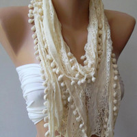 Ivory Beige - Lace and Elegance Shawl / Scarf - with Pompom-