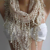 Beige - Elegance  Shawl - Scarf with Lacy Edge--