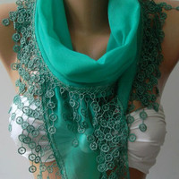 Nile Green /Cotton shawl /Elegance Shawl /Scarf with Lace Edge--