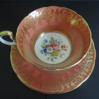 Vintage Aynsley Cup and Saucer Orange with Gold Filagree Design and Bouquet of Flowers