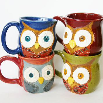 Mr. Owl Ceramic Mug - Choose Your Color - Retro Green Nautical Blue Rustic Red Vintage Plum - Original OOAK Design