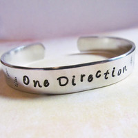One Direction Inspired Bracelet Cuff Hand Stamped Aluminum Custom Made To Order