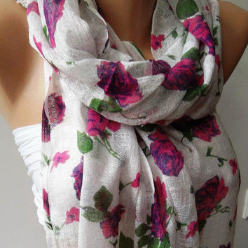 Pink Flowers  - Silky Touch - Elegance Shawl - Scarf-