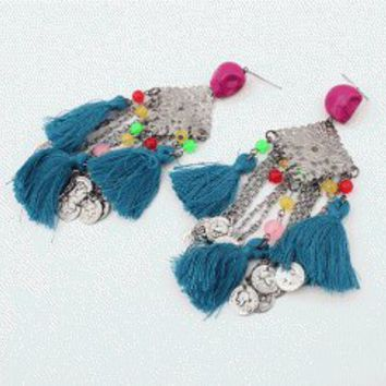 Dancing Skull Tassel Bohemian Earrings | LilyFair Jewelry