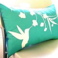 Limited Time Sale Mint Hummingbird with Eucalyptus Rectangle Pillow