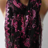Pink - Black - Turkish Shawl - Scarf.