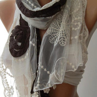 ON SALE /Brown / Elegance Shawl / Scarf with Lace Edge-