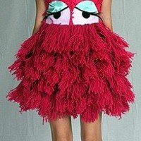 Hot Pink yarn monster face DRESS Sequins gaga by devaniNYC on Sense of Fashion