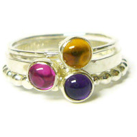 Sterling silver stacking gemstone ring set ruby ring, citrine, amethyst