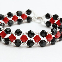 Red and black Swarovski crystal bracelet