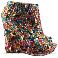 Rainbow Peep Toe Booties
