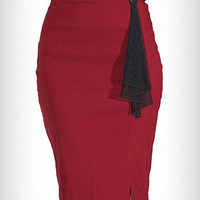 Cranberry High Waist Pencil Skirt