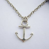 Necklace---antique silver little anchor&alloy chain