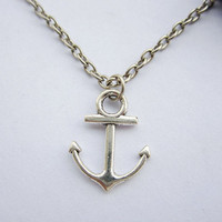 Necklace---antique silver little anchor&amp;alloy chain