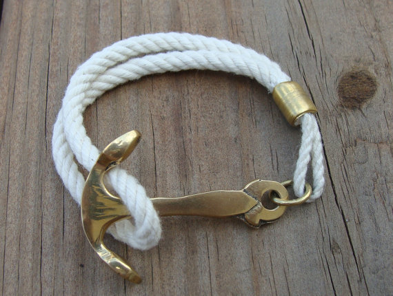 Rope Brass Anchor Bracelet