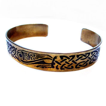 Vintage Brass Cuff Bracelet, Black Enamel Tribal Design