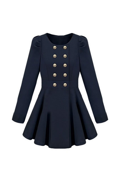 Double-breasted Skirt Hem Design Blue Trench-coat [NCSOQ0097] - $62.69 :