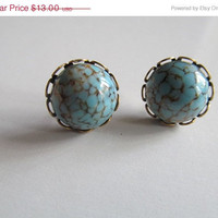 ON SALE Blue Marble Stud Earrings