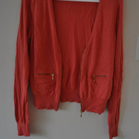 Vintage Coral Zip Cardigan