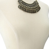 FOREVER 21 Rhinestoned Coin Bib Necklace Burnished Gold One