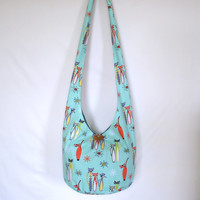 Hobo Bag, Sling Bag, Cats, Mod, Retro, Hippie Purse, Crossbody Bag