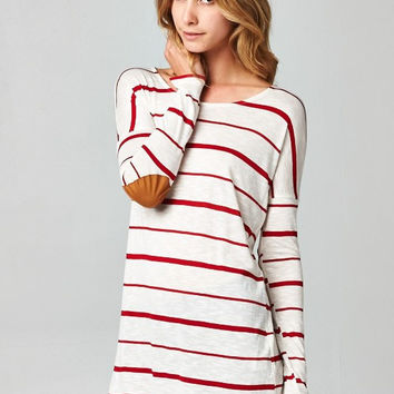Oatmeal and Red Striped Top