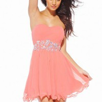 Jewel Emblished Chiffon Flow Dress