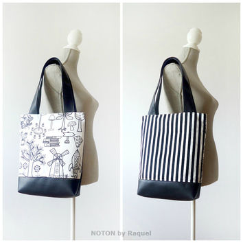 Black and White Vegan Tote Bag