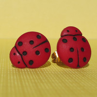 Red Ladybug Earrings Post Studs Lady Bug Jewelry Cute Small Gardening Insect Earrings CELEBRATION SALE! Buy 1 Get 2 Free