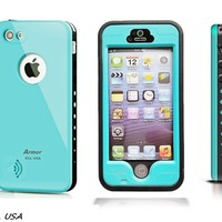 E.C.L USA ® iPhone 5S Case, Waterproof Armor Dirtproof Shockproof Durable Hard Cover Case for Apple iPhone 5S, Fully Supports Finger Print Function for 5S, All Carreires. (Aqua Blue)